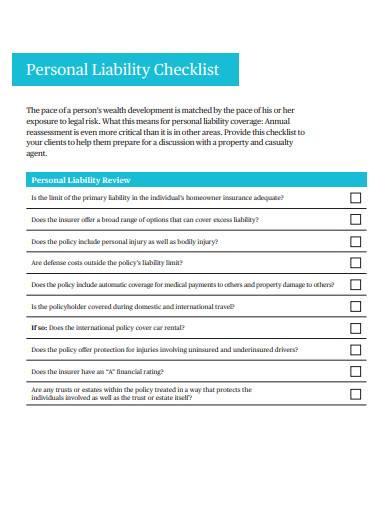 personal liability checklist