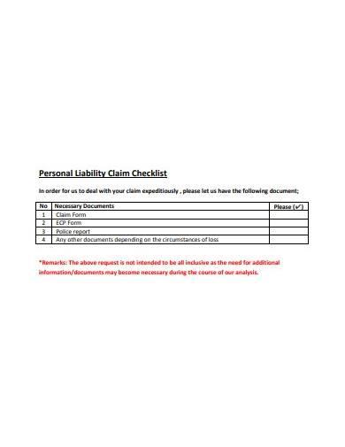 personal liability claim checklist
