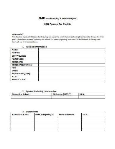 personal tax checklist template