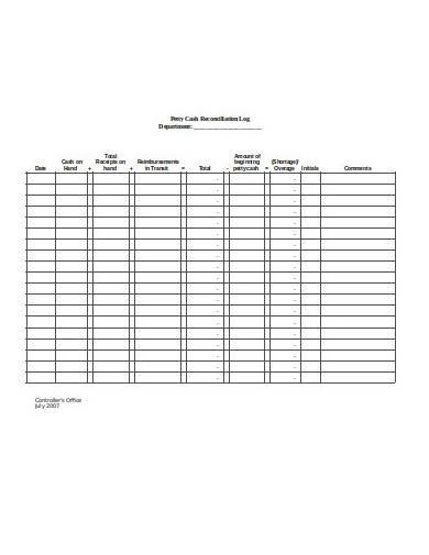 petty cash reconciliation log template