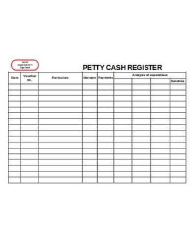 petty cash register template