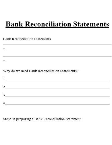 printable bank reconciliation statement