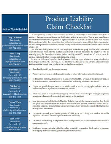 product liability claim checklist