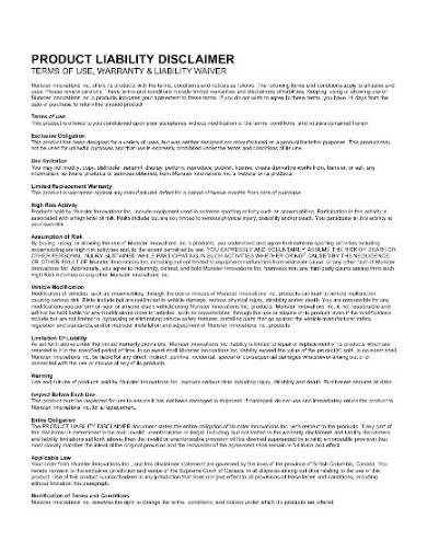product liability disclaimer template