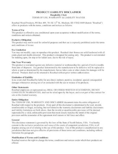 product liability disclaimer in pdf