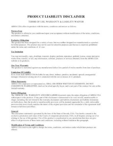 product liability disclaimer