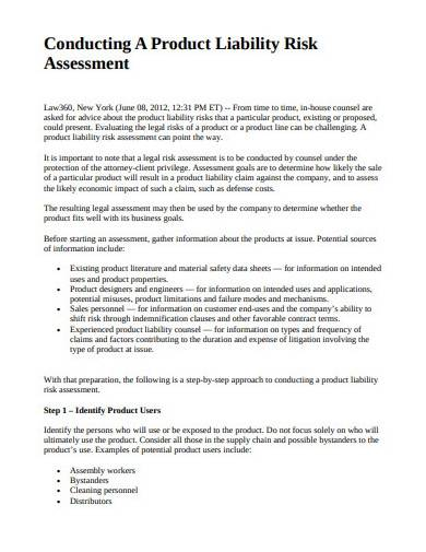 product liability risk assessment proposal
