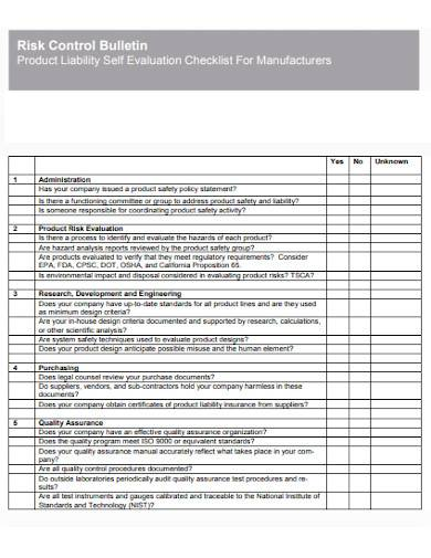 product liability self evaluation checklists template
