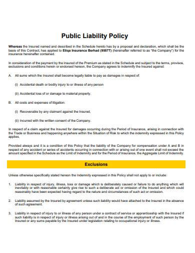 public liability policy template