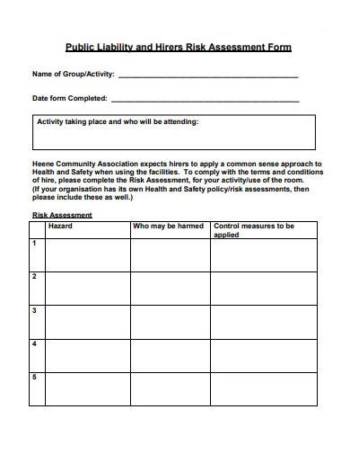 public liability and assessment form