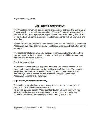 registered charity volunteer agreement template