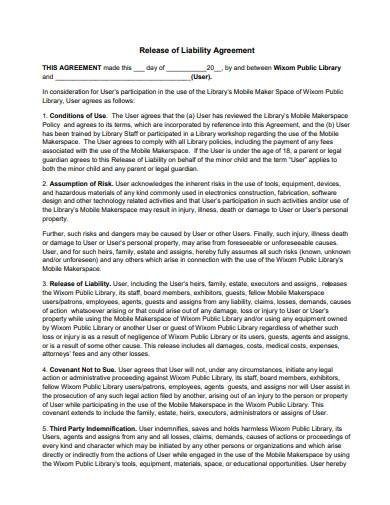 release of liability agreement sample
