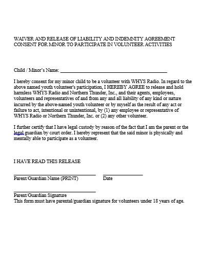 release of liability and indemnity agreement