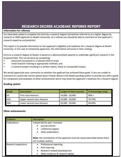 research degree academic referee report