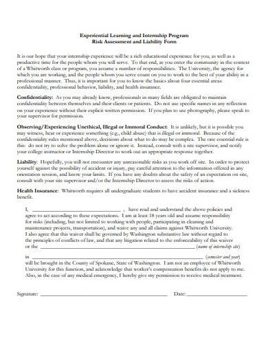 risk assessment and liability form sample