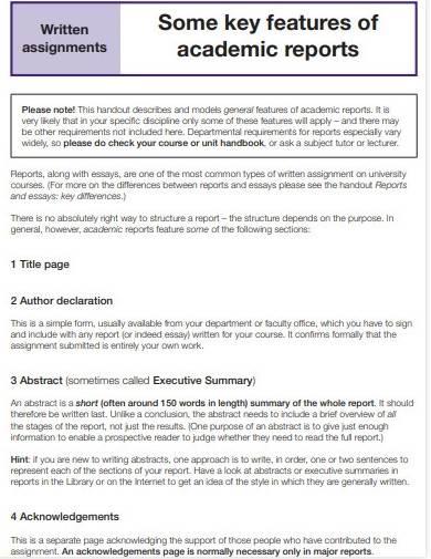 sample academic report template