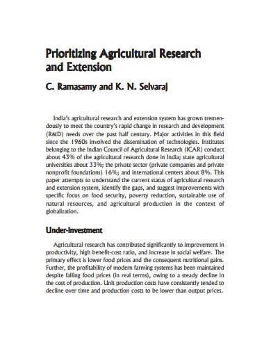 sample agricultural research template