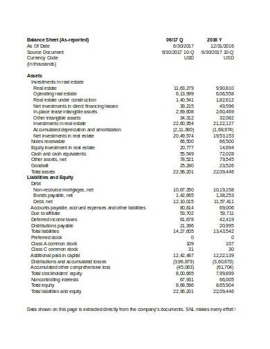 sample balance sheet in excel