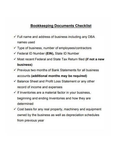 sample bookkeeping documents checklist