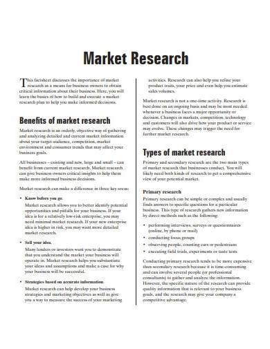 sample business marketing research plan