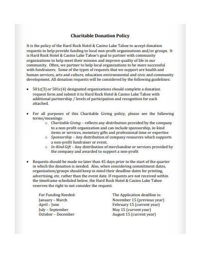 sample charitable donation policy