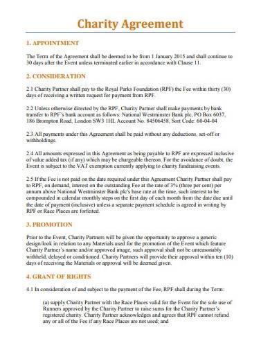 sample charity agreement