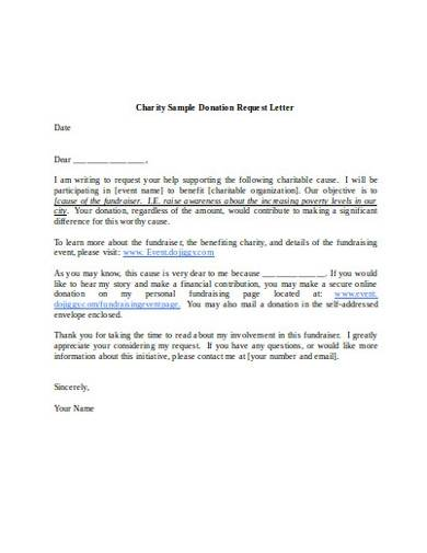 sample charity donation request letter