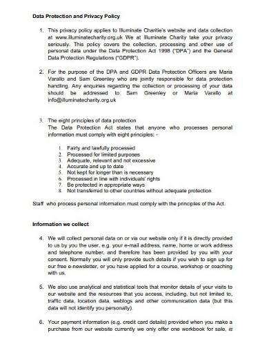 sample charity staff data protection policy
