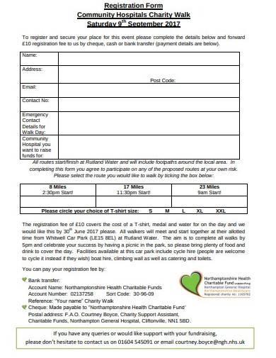 sample community charity walk registration form