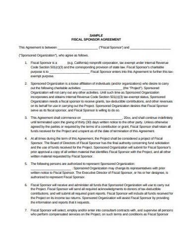 sample fiscal sponsorship agreement