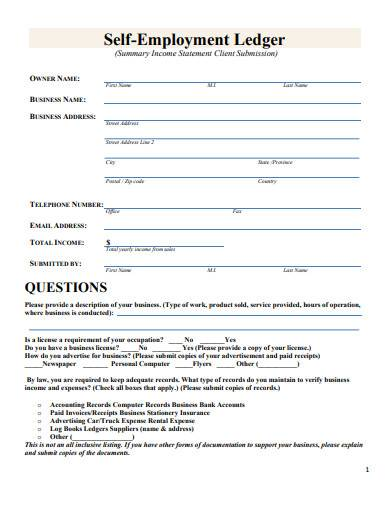 self employment ledger form sample