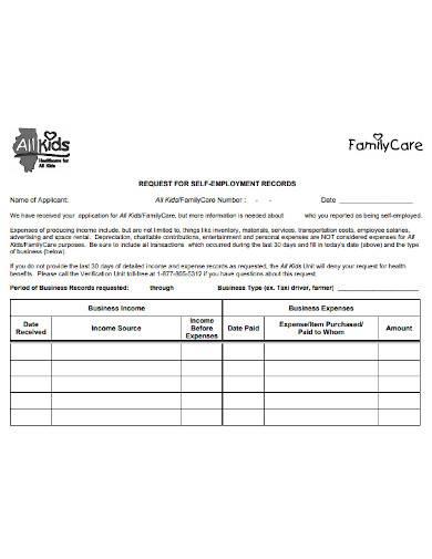 self employment records