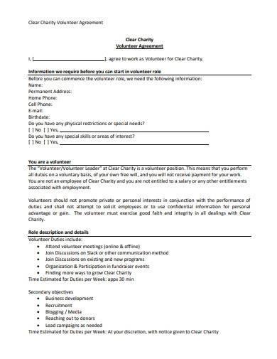 simple charity volunteer agreement