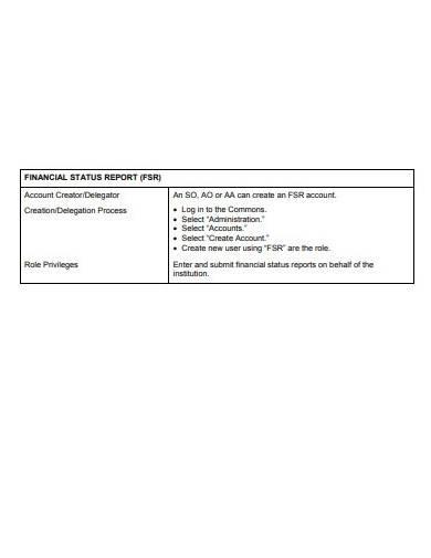 simple financial status report template