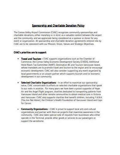 sponsorship and charitable donation policy