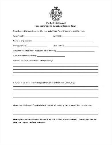sponsorship and donation request form