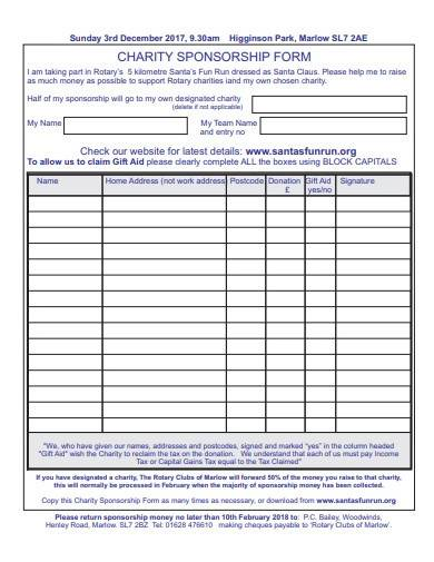 standard charity sponsorship form template
