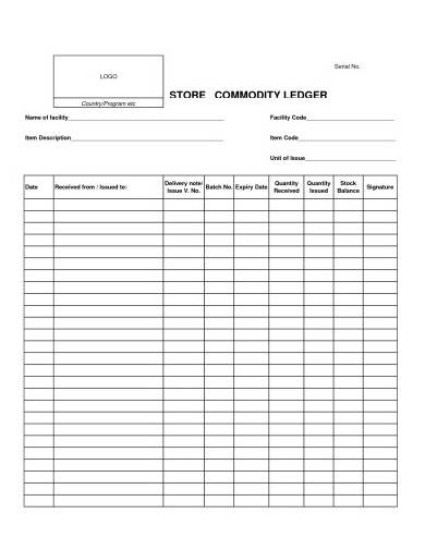 store commodity ledger template