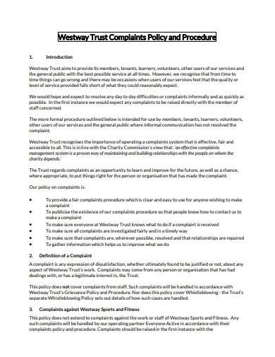 trust complaints policy and procedure