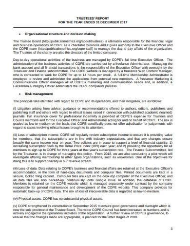 trustee report template