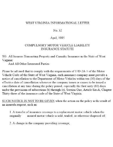 vehicle liability letter