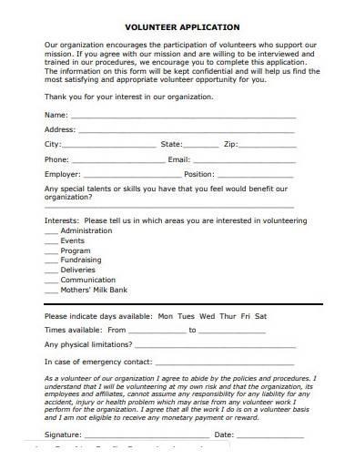 volunteer application form sample