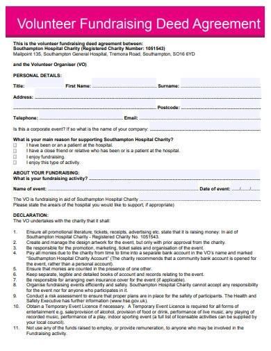 volunteer fundraising deed agreement