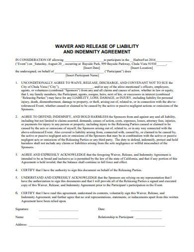 waiver and release of liability and indemnity agreement
