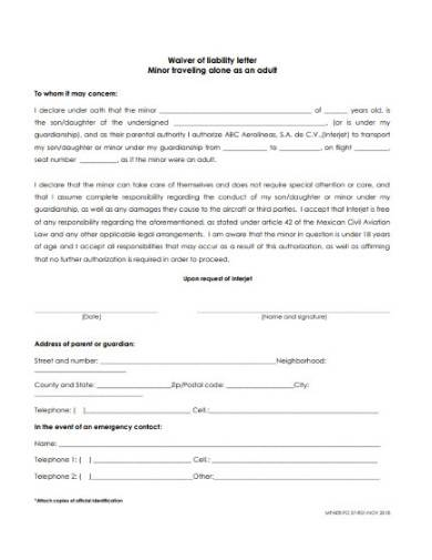 waiver of liability letter template