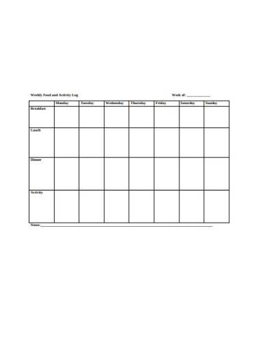 weekly food activity log template