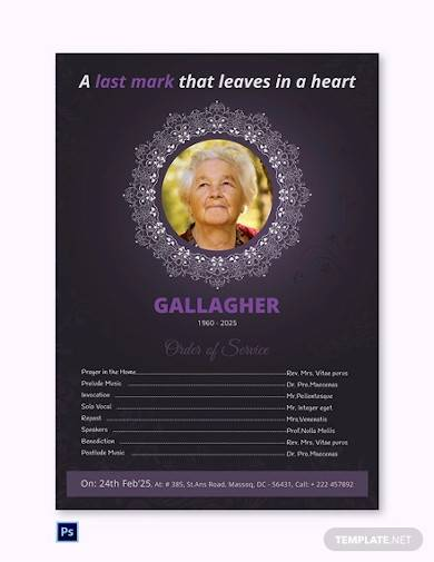 a3 funeral program poster template