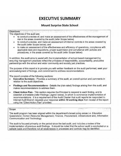administrative executive summary