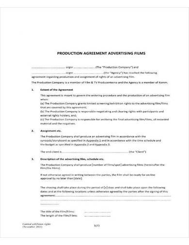 advertising films production agreement