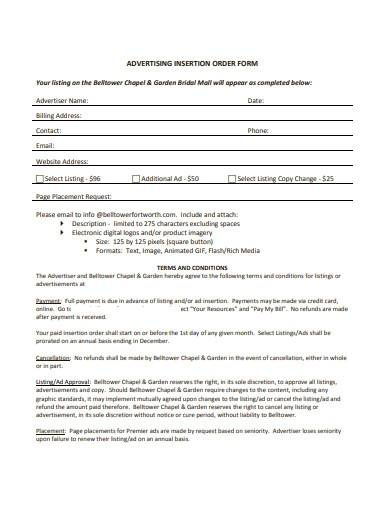 advertising insertion order form